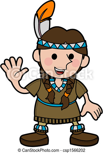 Illustration of girl in Native American costume - csp1566202