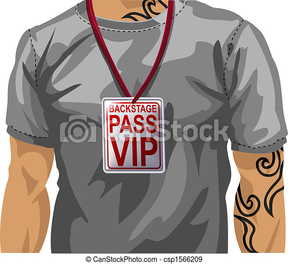 Illustration of man wearing VIP badge - csp1566209