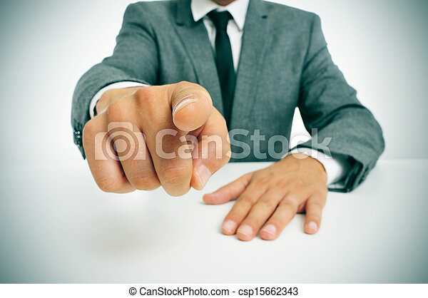 man in suit pointing the finger - csp15662343