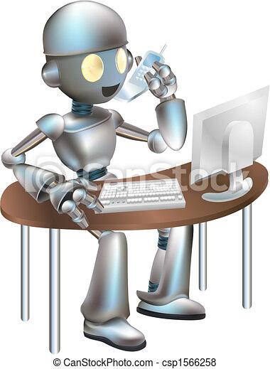 Illustration of robot sitting at desk - csp1566258
