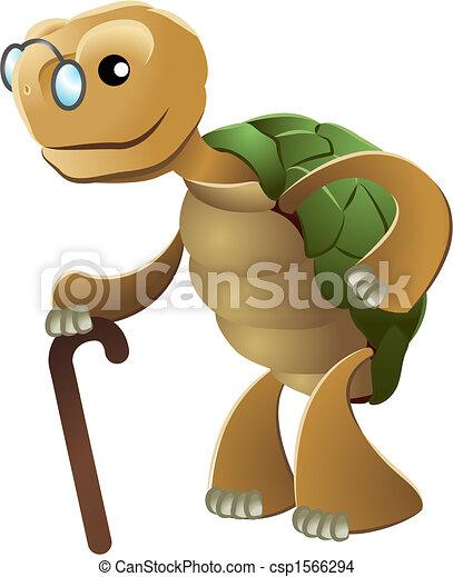 Illustration of elderly tortoise - csp1566294