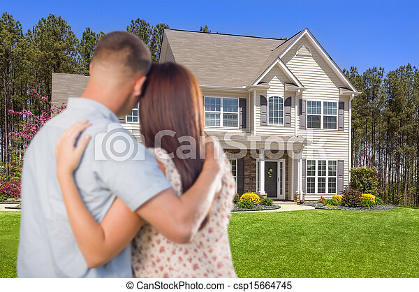 Military Couple Looking at Nice New House - csp15664745