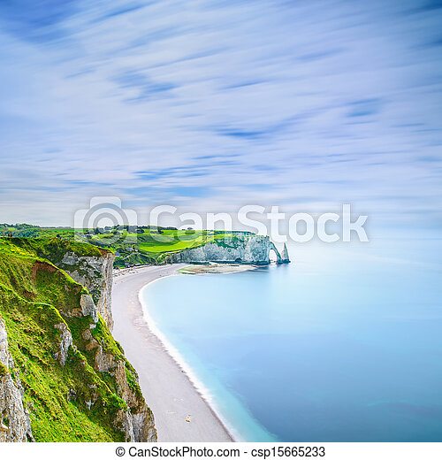 Etretat Aval cliff and rocks landmark and ocean . Normandy, France. - csp15665233