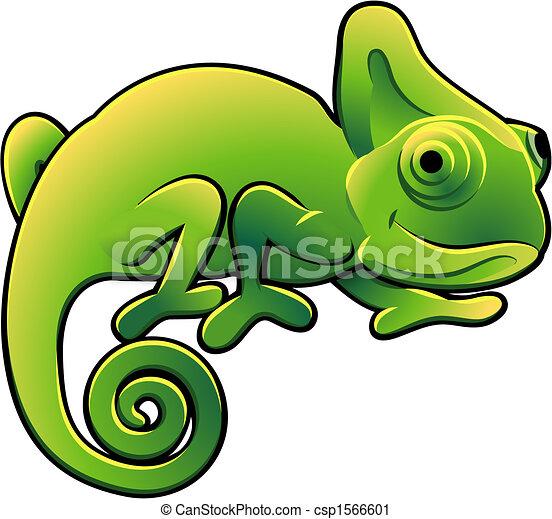 Cute Chameleon Vector Illustration - csp1566601