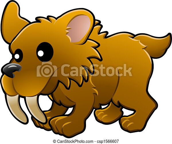 Cute sabre tooth tiger illustration - csp1566607