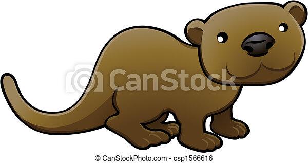 Sweet Otter Vector Illustration - csp1566616