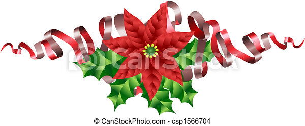 Christmas Poinsettia Holly and Ribbon Motif - csp1566704
