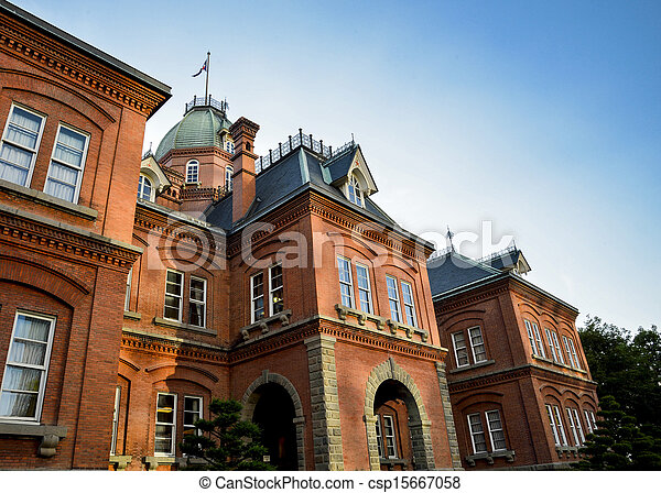 Red Brick Building in Sapporo Japan1 - csp15667058