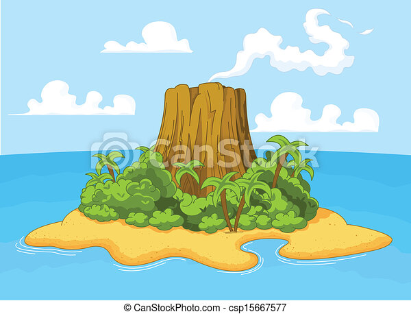 Illustration of volcano on desert island csp15667577 - Search Clipart ...
