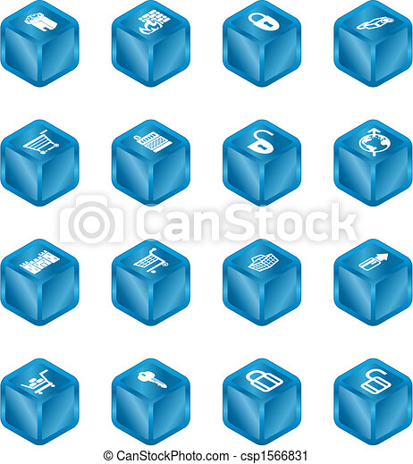 Security and E-Commerce Cube Icon Set Series - csp1566831