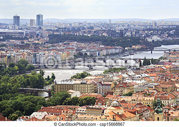 Vltava River and Bridges in Prague (View from the tower of Saint Vitus Cathedral). - csp15668867