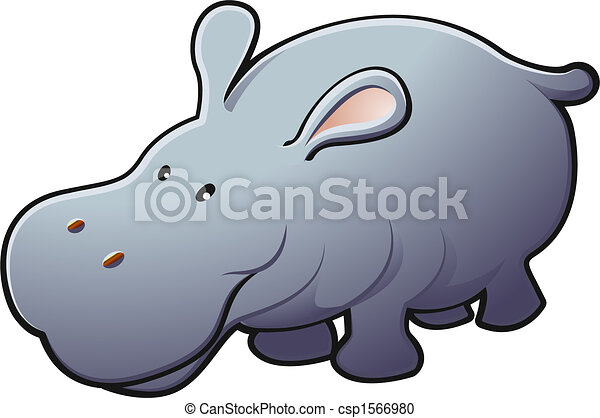 Cute Friendly Hippo Vector Illustration - csp1566980
