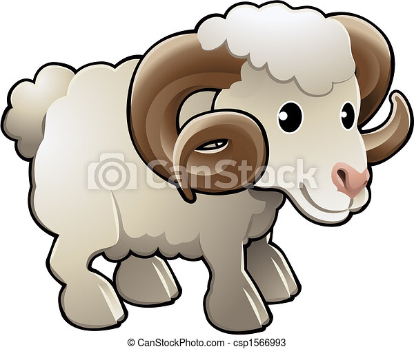 Cute Ram Sheep Farm Animal Vector Illustration - csp1566993