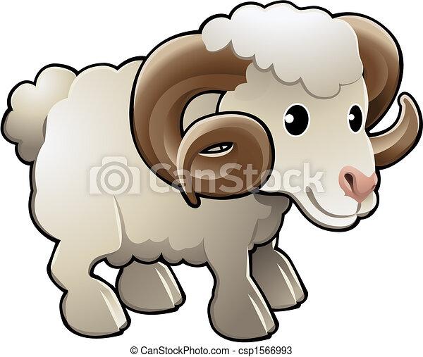 Cute Ram Sheep Farm Animal Vector Illustration - csp1566993