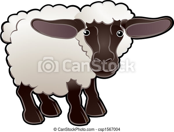 Cute Sheep Farm Animal Vector Illustration - csp1567004