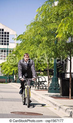 ビジネスマン, 自転車, コーカサス人, 乗馬 - csp1567177