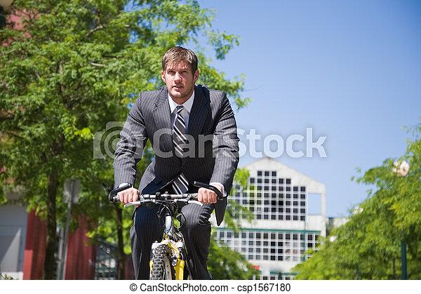 ビジネスマン, 自転車, コーカサス人, 乗馬 - csp1567180
