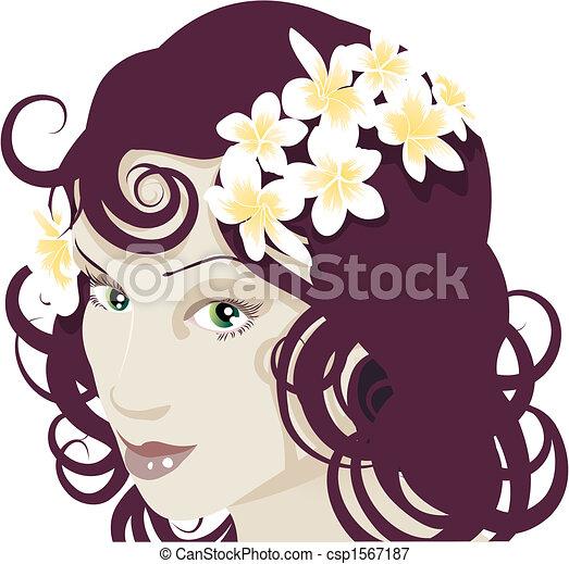 Flowers in her hair - csp1567187