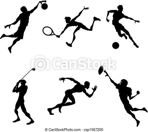 sport, lettori, silhouette, à, set, stilizzato, sport, lettori, silhouette - csp1567200