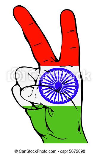 paix, signe, de, les, Indien, drapeau - csp15672098