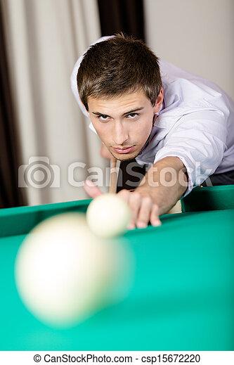 Man playing billiards at gambling club - csp15672220