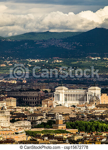Aerial view of Rome, Italy. - csp15672778