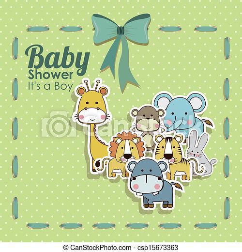 baby shower animals icons - csp15673363