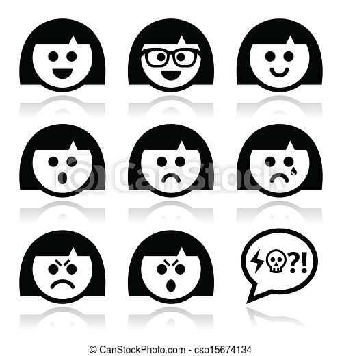 Vectors Of Smiley Girl Or Woman Faces Avatar Collection