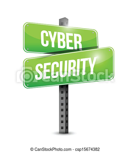 cyber security road sign illustration design - csp15674382