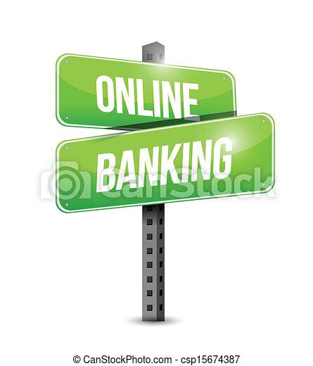online banking road sign illustration design - csp15674387