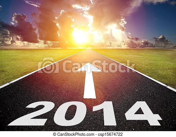 rok, wschód słońca, tło, nowy, 2014, droga - csp15674722
