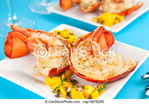 Grilled lobster tails - csp15676240
