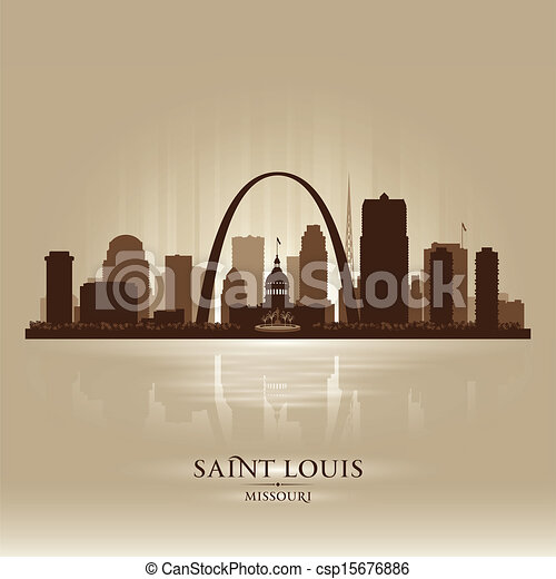 Saint Louis Missouri city skyline silhouette  - csp15676886