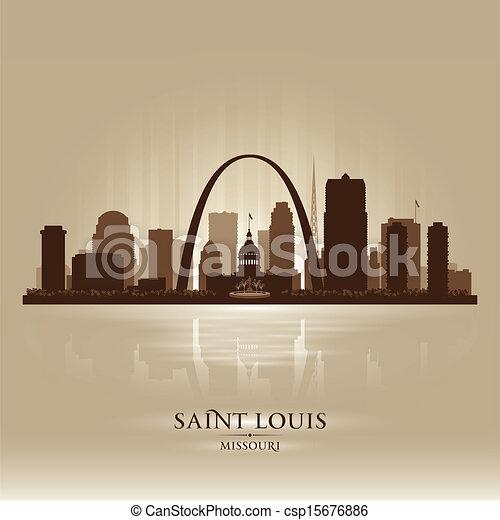 Saint Louis Missouri city skyline silhouette - csp15676886