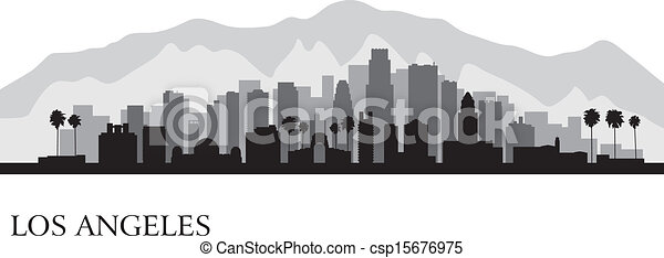 Los Angeles city skyline detailed silhouette - csp15676975