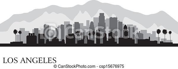 Los Angeles city skyline detailed silhouette - csp15676975