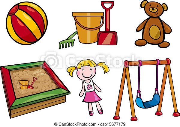 toys objects cartoon illustration set - csp15677179