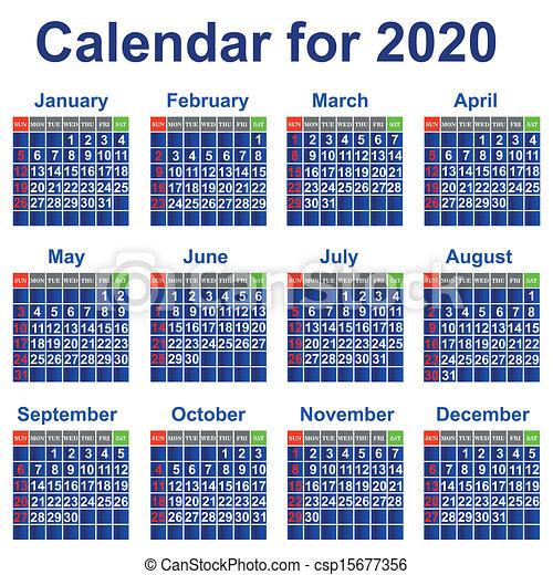 Clipart Vector Of Calendar For 2020 Year Calendar