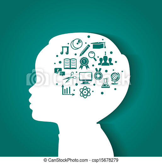 Child head with education icons - csp15678279