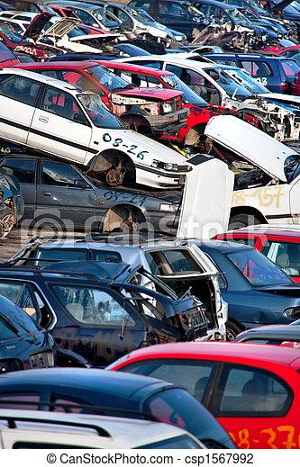 Scrapyard with old car wrecks