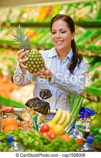 Inköp, grönsaken, frukt,  Supermarket - csp1568008