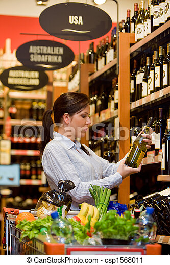 Purchases of wine at the supermarket - csp1568011