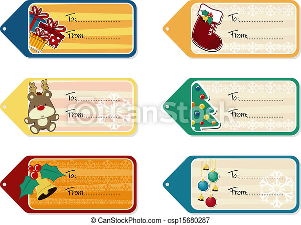 christmas gift tags vector template - stock illustration, royalty free ...