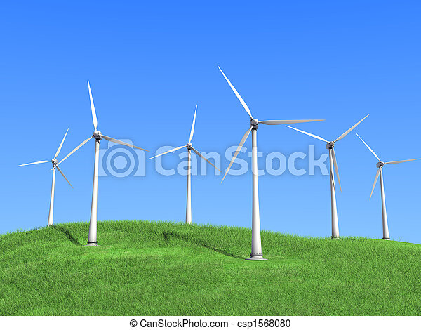 white wind turbines - csp1568080