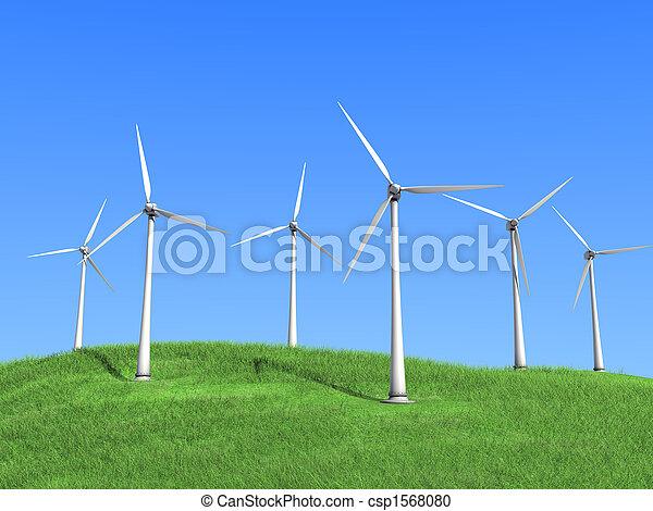 white wind turbines - csp1568080