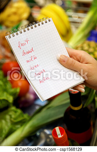 Shopping at the supermarket with a shopping list, english - csp1568129