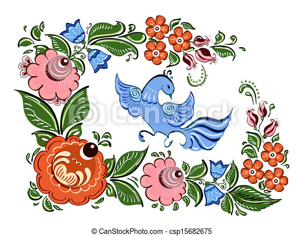 Russian Bird Flowers And Bird in Russian