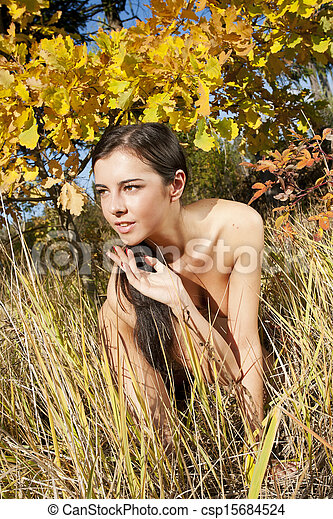 Stock Photo of Portrait of nudity girl. - Young naked