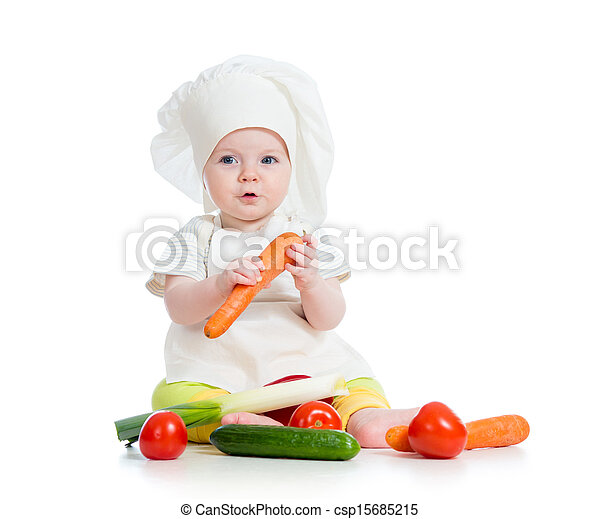 cook baby girl eating healthy food isolated on white - csp15685215