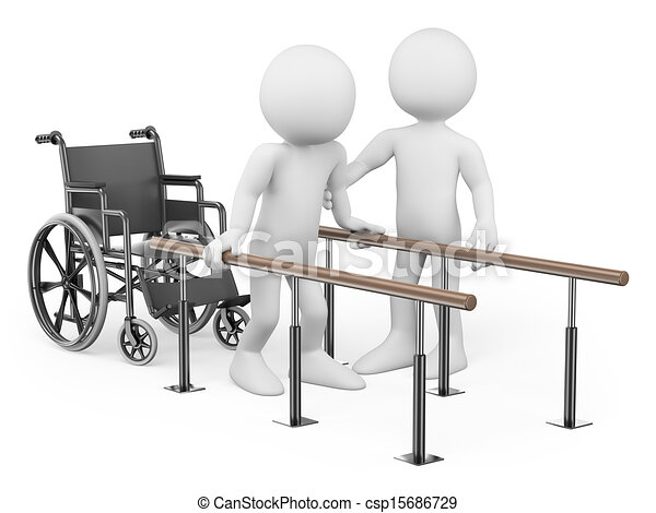 3D white people. Man recovering from his injury - csp15686729